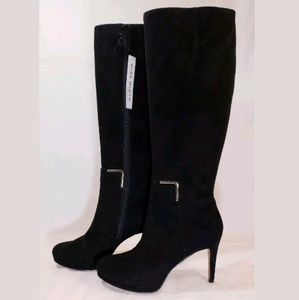 NINE WEST Black Leather Boots, 7.5 Wide Calf